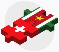 Switzerland and Suriname Flags Stock Illustration