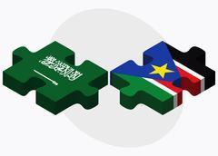 Saudi Arabia and South Sudan Flags Stock Illustration