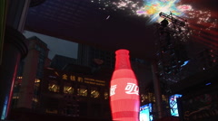 Coca-Cola promotion, huge LCD screen, China - stock footage