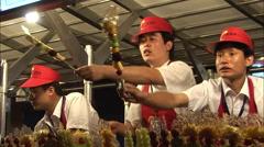 Chinese food market, street vendors, Beijing Stock Footage