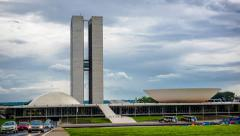 Timelapse View of National Congress (Congresso Nacional) in Brasilia, Brazil Stock Footage
