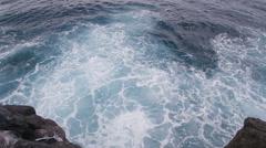 Water Swell Ocean Atlantic Rocks Look Down Slowmotion Stock Footage