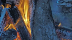 Bon Fire Outdoors Stock Footage