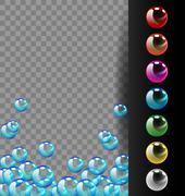 Colorful bubbles set on translucent and black background Stock Illustration