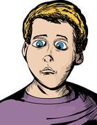 Cartoon of Serious Child - stock illustration