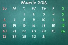 Green blackboard wall texture with a word Calender 2016 March - stock photo