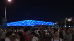 Chinese people, Water Cube, Beijing Olympics Stock Footage