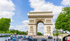 Beautiful summer view of Champs Elysees and Arc de Triomphe, Paris, France - stock photo