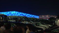 Beijing Olympic stadiums, parking lot, night Stock Footage