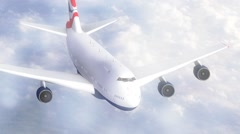 Jumbo jet flying through clouds Stock Footage