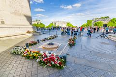 Tomb of the unknown soldier, Arc de Triomphe, Paris, France - stock photo