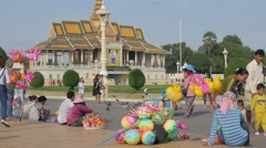 Stock Video Footage of Toy sellers in royal palace park,Phnom Penh,Cambodia