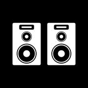The audio icon. Speaker and music, sound, stereo symbol. Flat Stock Illustration