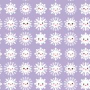 seamless pattern, Kawaii snowflake set white funny face with eyes and pink - stock illustration