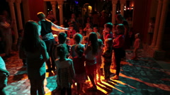 Children disco party with animators is in Egyptian hotel, Hurghada Stock Footage