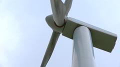 Windmill, wind turbine - close up shot - nice cloudy sky background Stock Footage