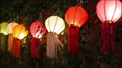 Paper lanterns in Yee-peng festival ,Chiang Mai Thailand Stock Footage