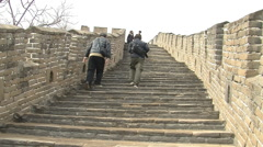 Steep steps on Great Wall of China Stock Footage