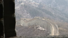 Great Wall of China in mountains Stock Footage