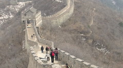 Tourists on Chinese Great Wall in winter Stock Footage