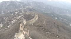 Chinese Great Wall in winter mountains Stock Footage