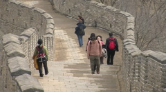 Chinese people walking the Great Wall, China Stock Footage