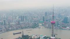 Tower 470 meter the Oriental Pearl is one of Shanghai's tallest buildings Stock Footage