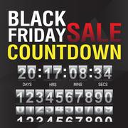 Black Friday countdown timer template - stock illustration