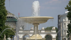 Beautiful white fountain in the Saxon Garden, Warsaw Stock Footage