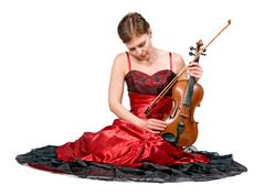 Young woman with the viola Stock Photos