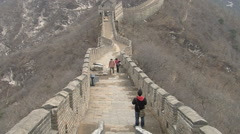 Great Wall of China, winter mountains Stock Footage