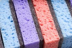 Scouring pads , cleaning items in several colors Stock Photos