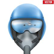 Stock Illustration of Military flight fighter pilot helmet. Vector