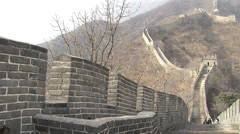 Stone walls of Great Wall of China Stock Footage