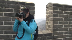 Chinese girl taking photo, Great Wall Stock Footage