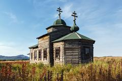 Stock Photo of Ancient wooden Orthodox Church of Assumption. Russian Federation, Kamchatka