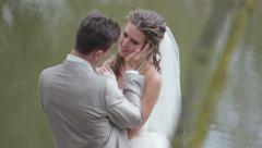 Romantic moments of the wedding day - on the lake Stock Footage