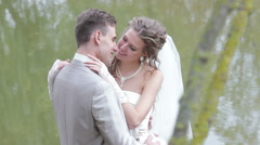 Romantic moments of the wedding day - Hugs and kisses Stock Footage