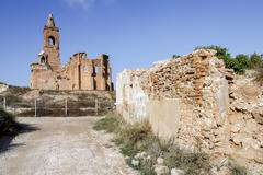 Belchite village destroyed in a bombing during the Spanish Civil War - stock photo