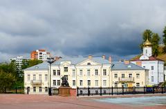Holy Spirit nunnery and Pushkinsky bridge, Vitebsk - stock photo
