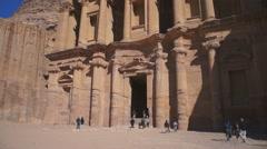 The monastery in world wonder Petra in Jordan - stock footage
