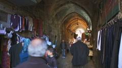 Street scene in old city of the Jerusalem in Israel Stock Footage