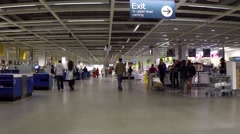 One side of check out counter inside Ikea store Stock Footage
