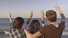 Multiethnic Teens Hold Up Peace Signs And Watch Waves Crash On Beach Stock Footage