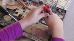 Computer Kid little repair hands - stock footage
