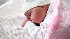 Newborn girl sleeping sweet dream Stock Footage