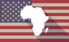 Stock Illustration of Long shadow vector USA flag icon with  a map of the african continent