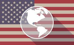 Long shadow vector USA flag icon with an America region world globe Stock Illustration
