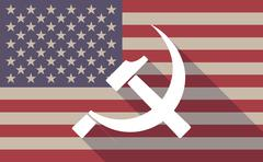 Long shadow vector USA flag icon with  the communist symbol - stock illustration