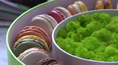 sweet colorful Macarons - stock footage